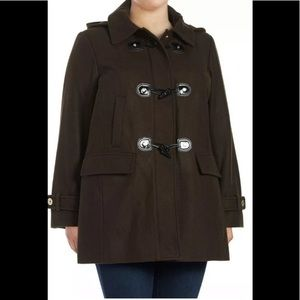 MK Plus Olive Wool Blend Hooded Toggle Duffle Coat